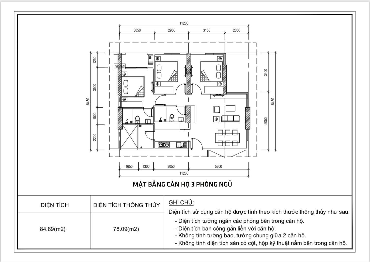 Thiết kế căn hộ 3 phòng ngủ chung cư Diamond Riverside