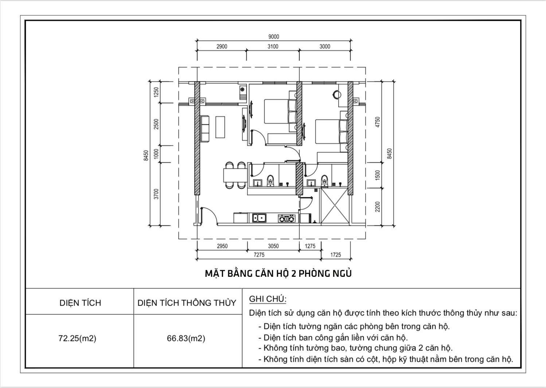 Thiết kế căn hộ 2 phòng ngủ chung cư Diamond Riverside