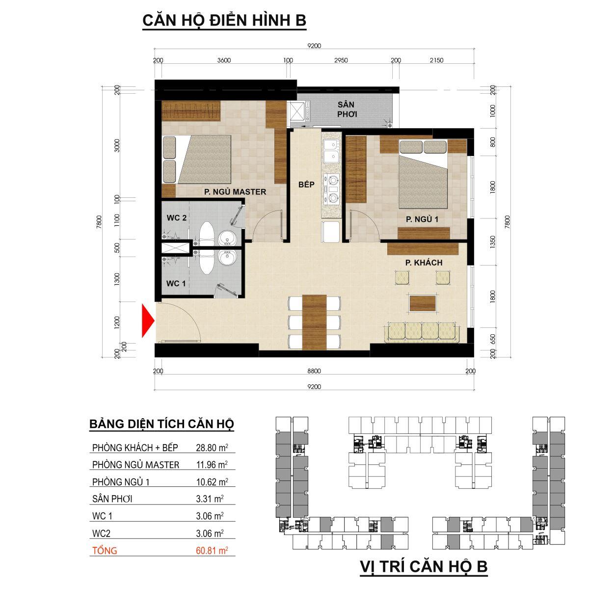 Căn hộ 2 phòng ngủ diện tích 60,81m2