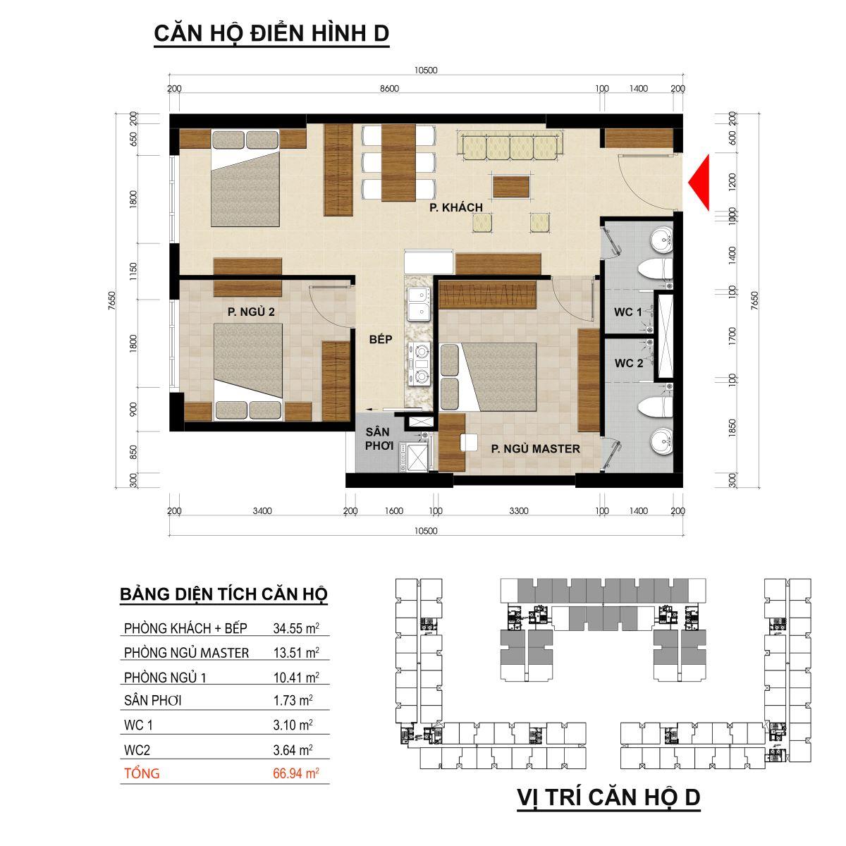 Căn hộ 2 phòng ngủ diện tích 66,94m2