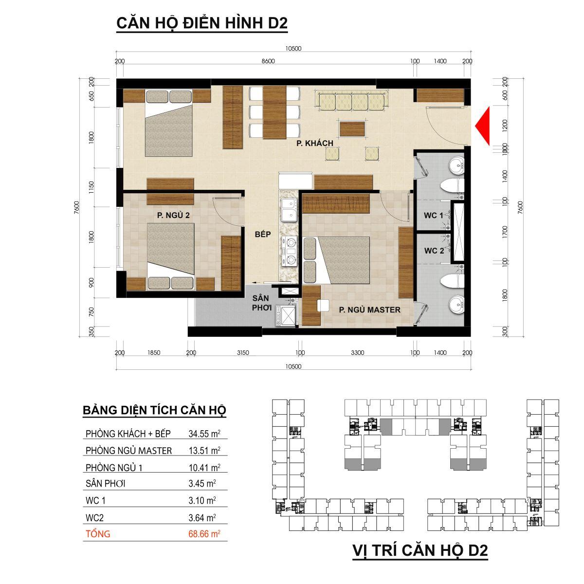 Căn hộ 2 phòng ngủ diện tích 68,66m2