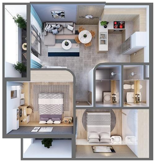 Mặt bằng căn hộ 2 phòng ngủ diện tích diện tích 67,9 – 68,7 m2