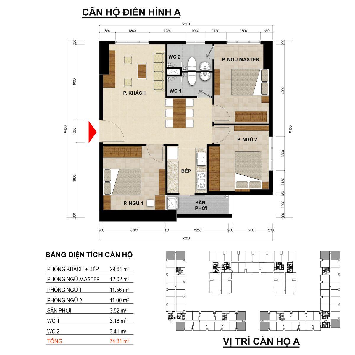 Căn hộ 2 phòng ngủ diện tích 74,31m2