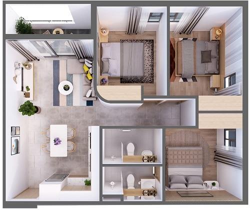 Mặt bằng căn hộ 3 phòng ngủ diện tích 76,38 m2