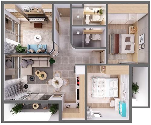 Mặt bằng căn hộ 3 phòng ngủ diện tích 79,6 m2