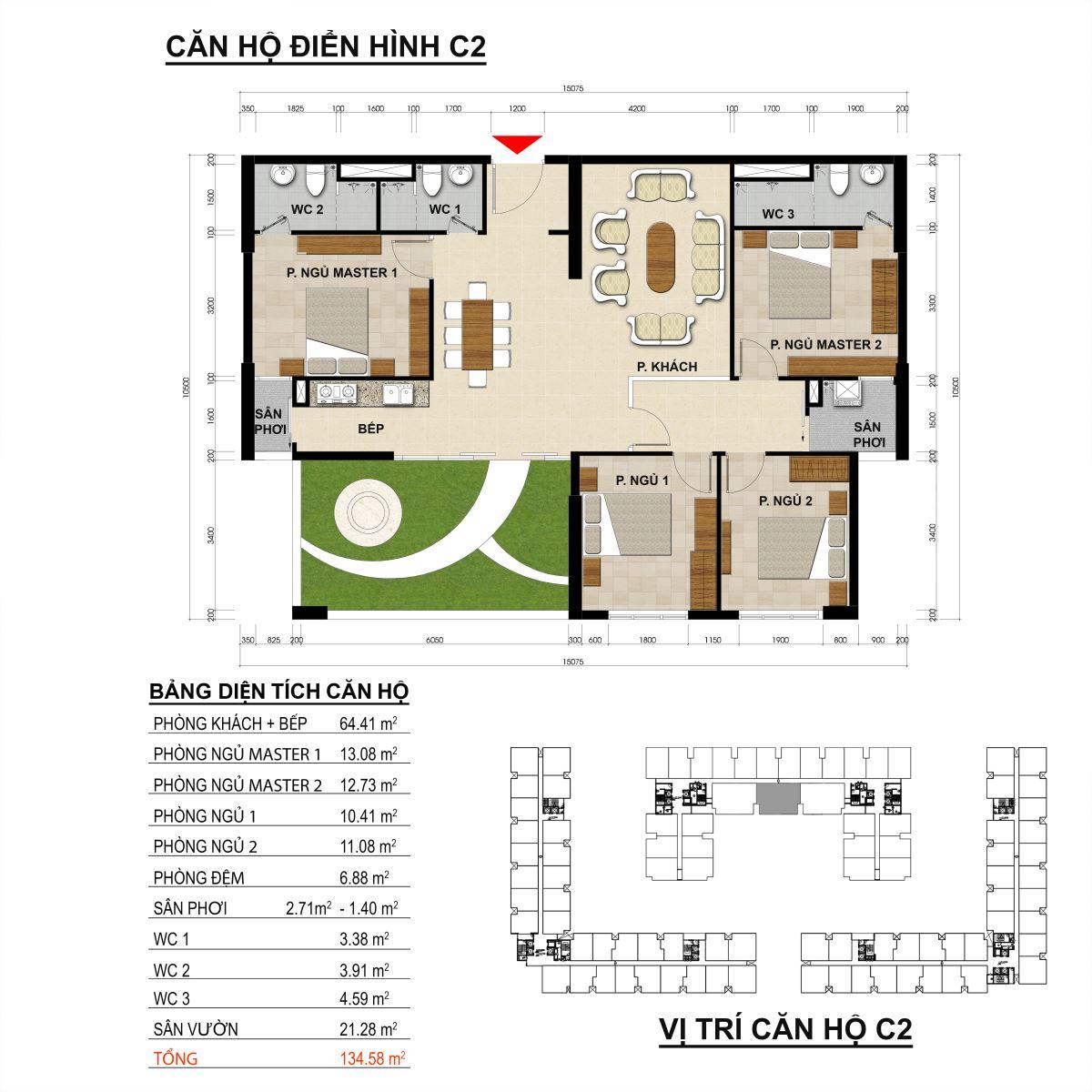 Căn hộ 4 phòng ngủ diện tích 134,58m2