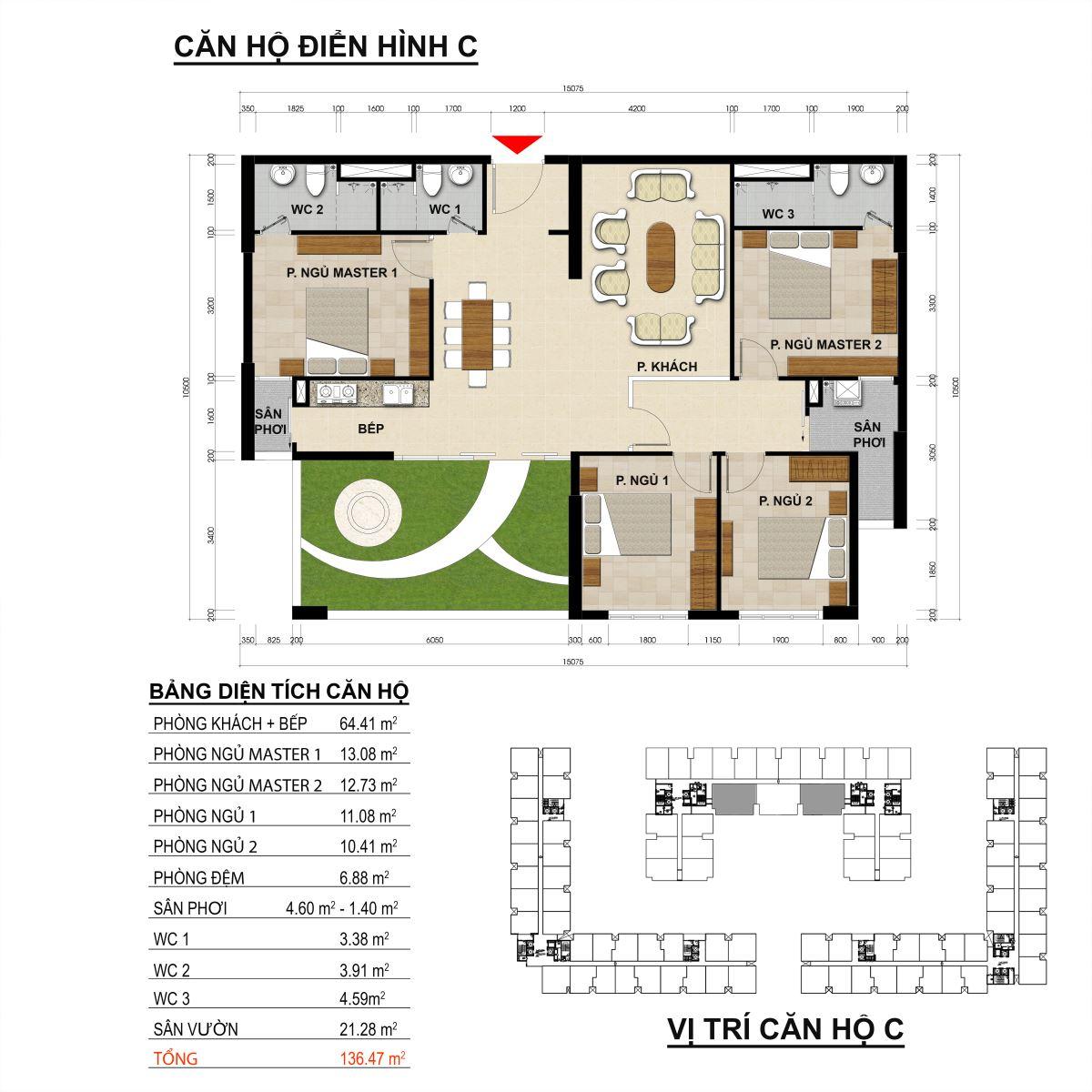 Căn hộ 4 phòng ngủ diện tích 136,47m2