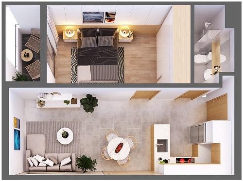 Mặt bằng căn hộ 1 phòng ngủ diện tích 48,77m2