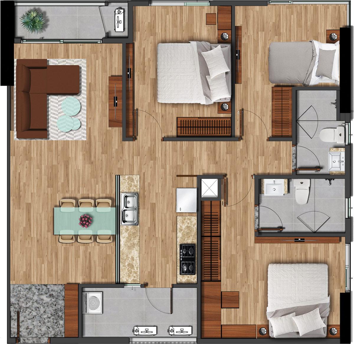 Mặt bằng căn hộ 100m2 - 3PN