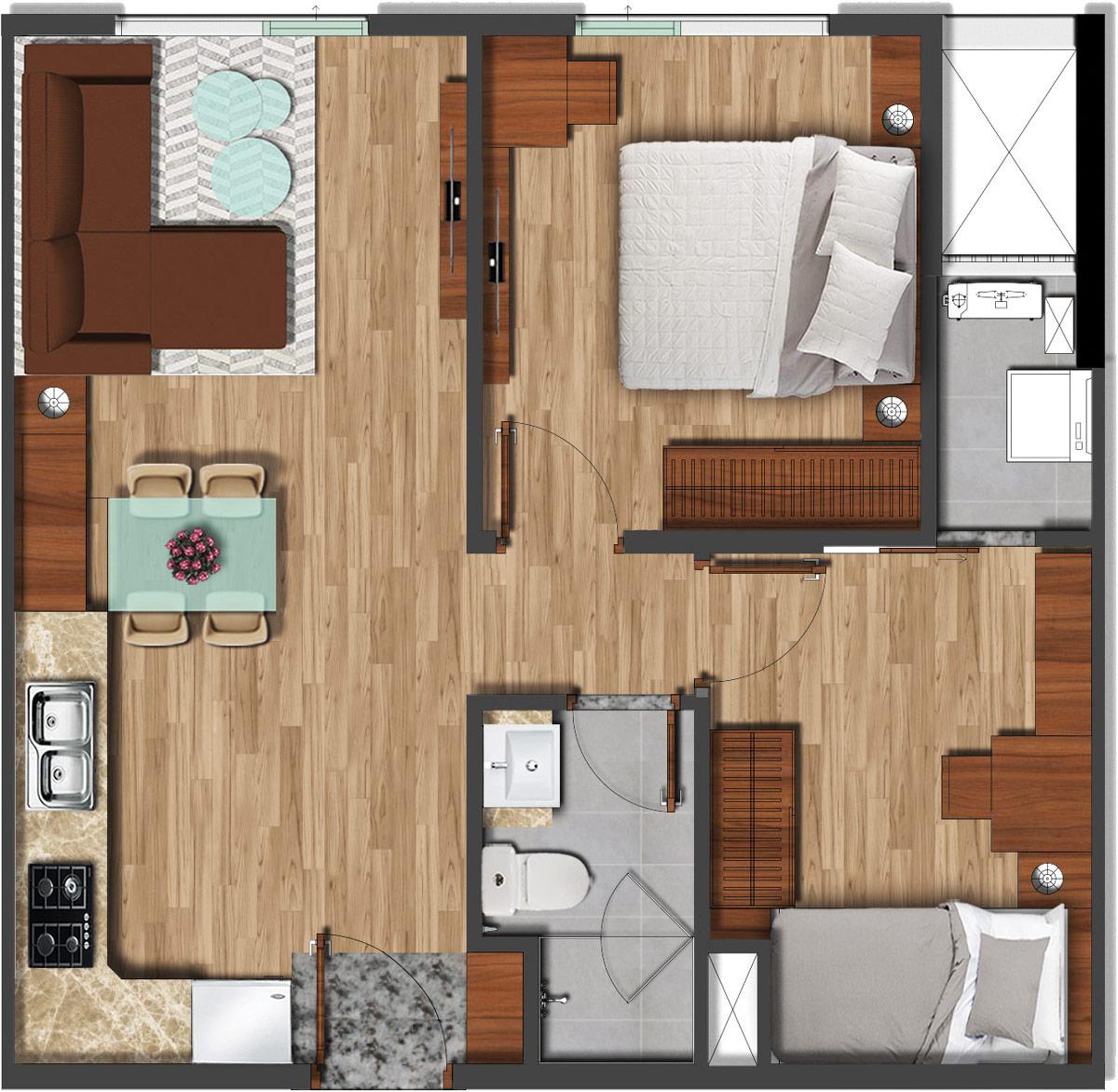 Mặt bằng căn hộ 56m2 - 2PN 1WC