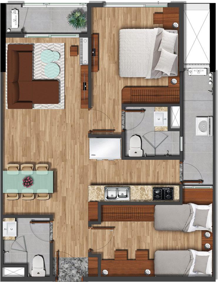 Mặt bằng căn hộ 75m2 - 2PN 2WC