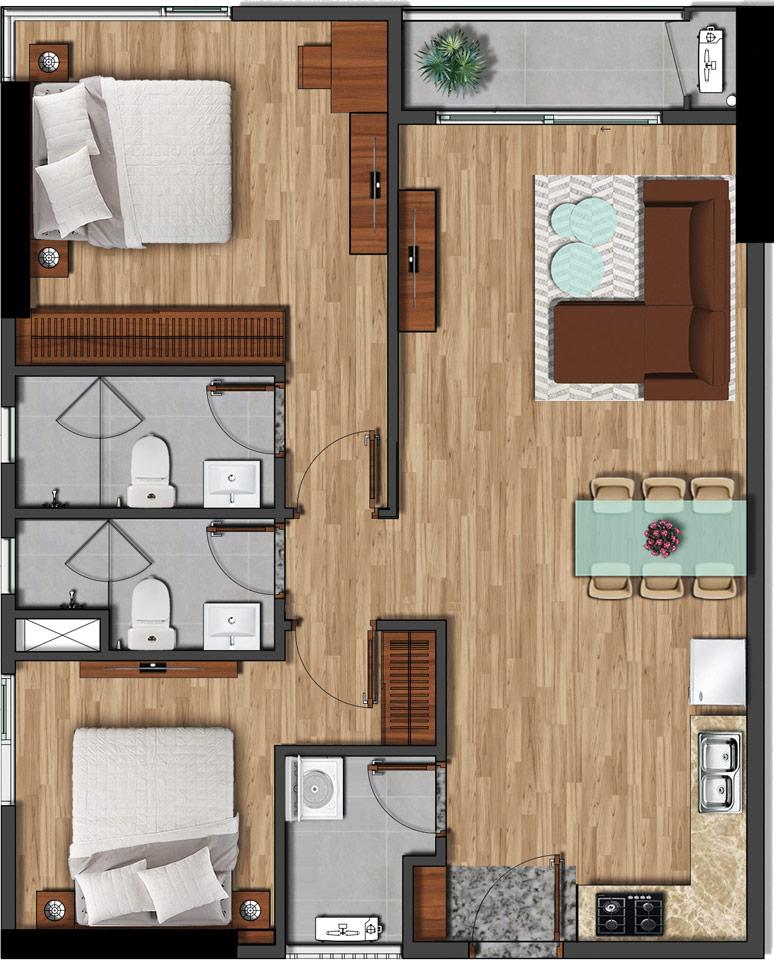 Mặt bằng căn hộ 79m2 - 2PN 2WC