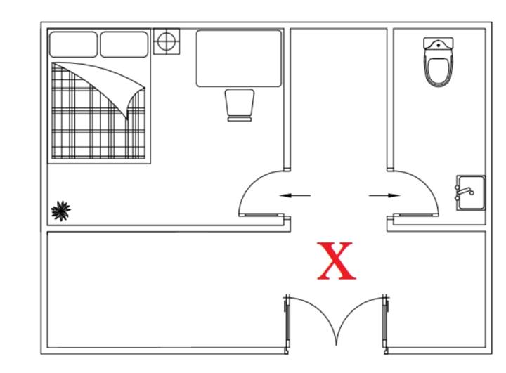 Trong phong thủy căn hộ chung cư cửa nhà vệ sinh không nên nằm đối diện vị trí cửa phòng