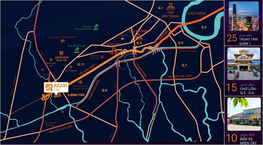 Vị trí dự án Akari City đắc địa tại khu Tây Sài Gòn
