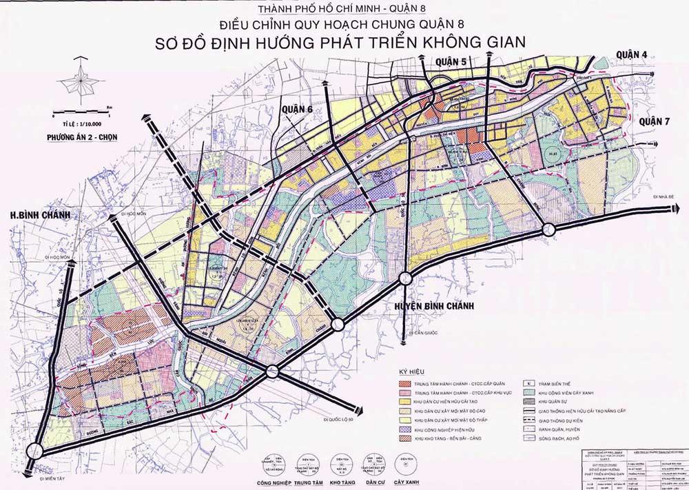 vị trí quận 8 có hình dạng chữ nhật tiếp giáp với nhiều nơi